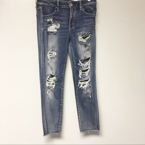 American Eagle Outfitters Distressed Cropped Jeans